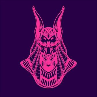 Ilustração de cor neon anubis