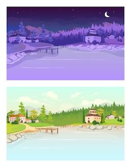 Ilustração de cor plana de aldeia dia e noite. lago perto de edifícios residenciais. campo diurno. país noturno. paisagem rural de verão 2d dos desenhos animados com a natureza no fundo