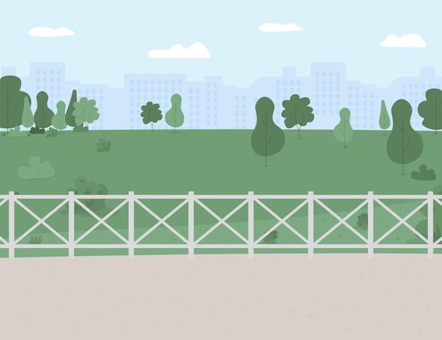 Ilustração de cor plana de área de parque e recreação. localização ao ar livre.