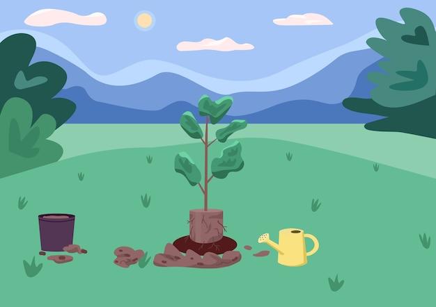 Ilustração de cor plana de área de parque e recreação. processo de plantio