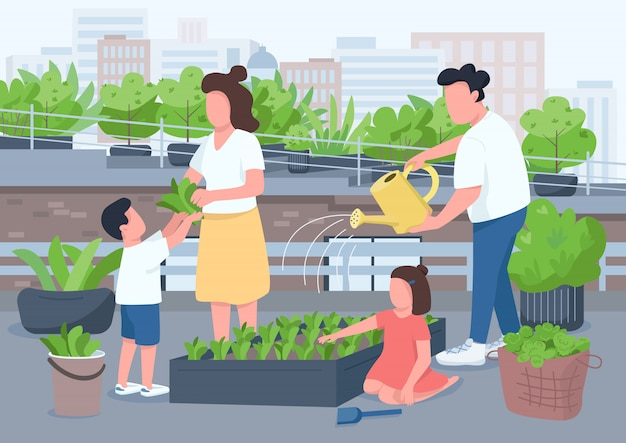 Ilustração de cor plana de atividade familiar. mamãe e papai ensinam crianças a jardinagem. molhando a planta em pasta sobre ao ar livre. pais e crianças personagens de desenho animado 2d com interior em fundo
