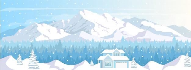 Ilustração de cor plana de casa de estância de esqui