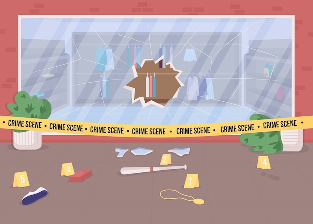 Ilustração de cor plana de cena de crime de roubo de loja. vitrine quebrada. provas de crime. área de investigação policial. vista da cidade em 2d de área restrita com fita da polícia no fundo