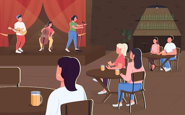 Ilustração de cor plana de concerto musical ao vivo. banda de música se apresenta no café. show de jazz em pub. vida noturna no restaurante. personagens de desenhos animados 2d de animadores com interior no fundo
