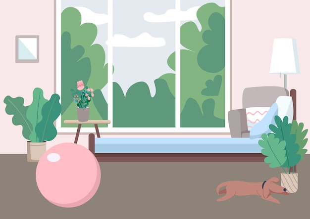 Ilustração de cor plana de ginásio em casa. bola inflável para fitness. assoalho da casa para aeróbica. equipamento desportivo para treino. sala vazia 2d cartoon interior com janela no fundo