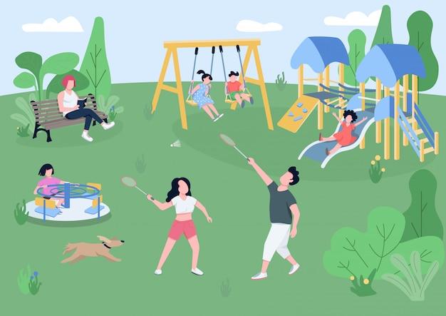 Ilustração de cor plana de parque infantil