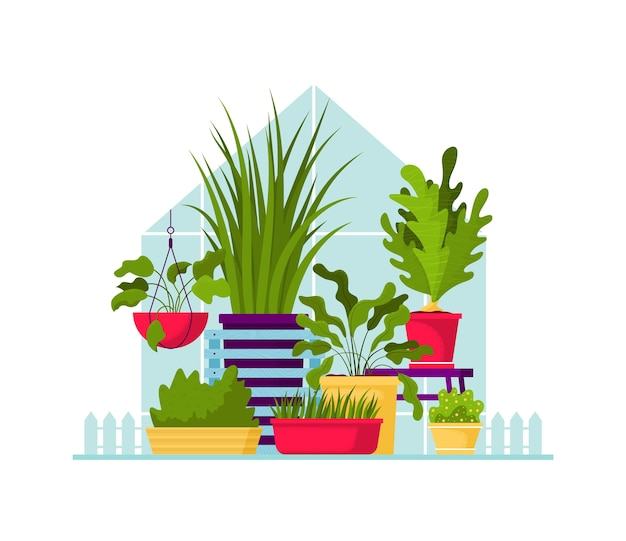 Ilustração de cor plana de plantas de interior.