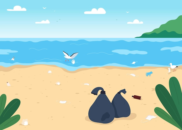 Ilustração de cor plana de praia suja vazia