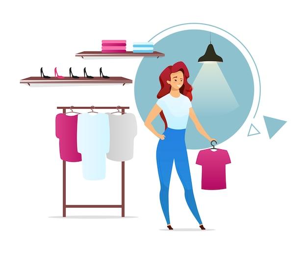 Ilustração de cor plana de vendedora. loja de moda com racks. boutique de roupas. cliente do sexo feminino na loja de roupas. mulher escolhendo roupas. personagem de desenho animado isolada em fundo branco