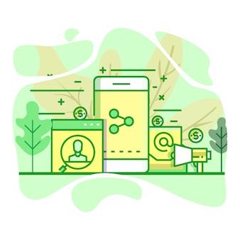 Ilustração de cor verde plana moderna de radiodifusão