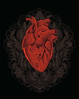 Ilustração de coração com gravura de ornamento vintage