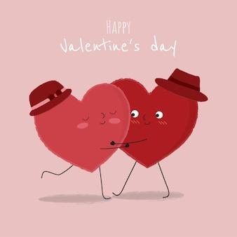 Ilustração de coração dançando e abraçando com outro coração.