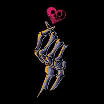 Ilustração de coração de ossos de dedo coreano
