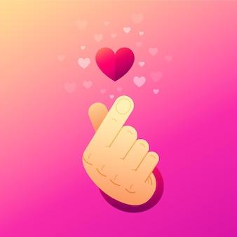Ilustração de coração dedo gradiente