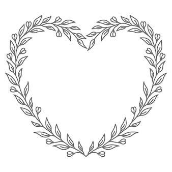 Ilustração de coração em vetor floral abstrato e decorativo para o dia dos namorados