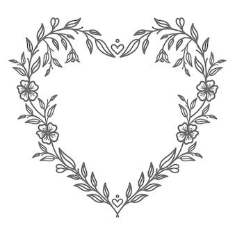 Ilustração de coração floral adorável dia dos namorados