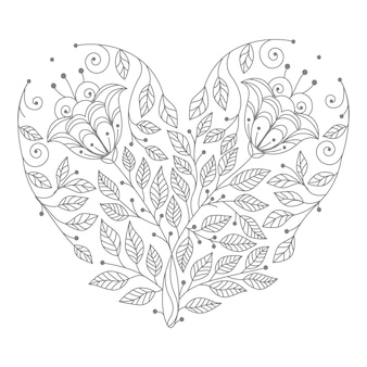 Ilustração de coração floral com fundo abstrato e formato de coração decorativo