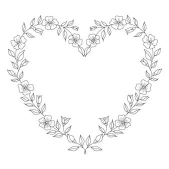 Ilustração de coração floral conceito decorativo para dia dos namorados e decoração
