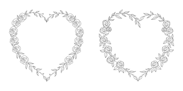 Ilustração de coração floral rosa com arte de linha e conceito de formato de coração