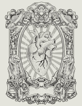 Ilustração de coração humano com ornamento de gravura antiga