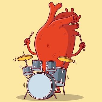 Ilustração de coração tocando bateria