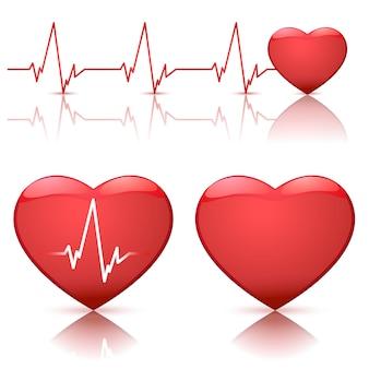 Ilustração, de, corações, com, batida coração