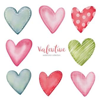 Ilustração de corações multicolor de coleção.