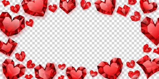 Ilustração de corações vermelhos feitos de cristais com sombras em fundo transparente