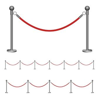 Ilustração de corda de barreira isolada no branco