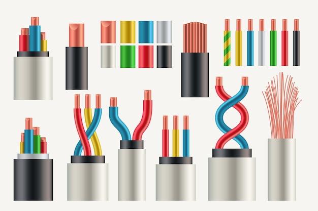 Ilustração de cores diferentes de conjuntos realistas e tipos de fios elétricos e cabos isolados no fundo branco