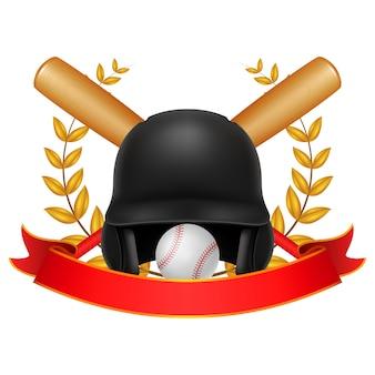 Ilustração de coroa de beisebol e louro