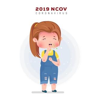Ilustração de coronavírus. menina doente tossindo