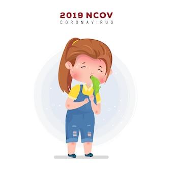 Ilustração de coronavírus. menina doente vomitando