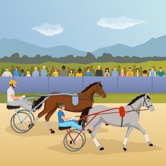 Ilustração de corridas de arreios
