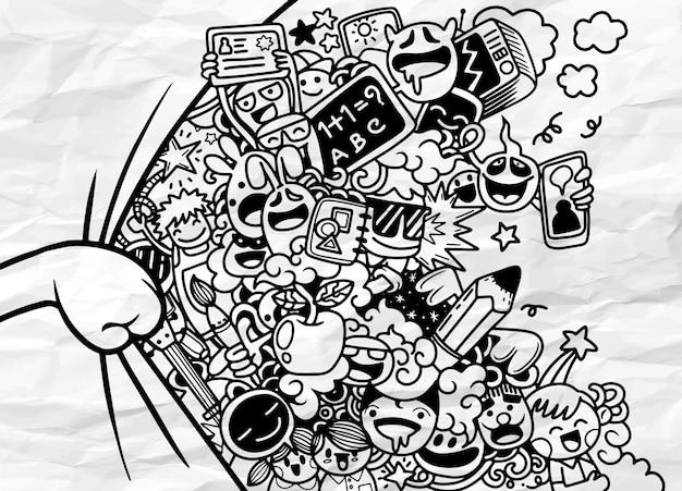Ilustração de cortina de abertura de mão, com grupo de estudantes engraçado por trás