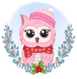 Ilustração de coruja bonita com guirlanda de natal