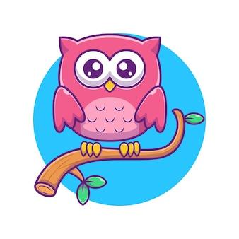 Ilustração de coruja bonita na árvore. animal . estilo de desenho plano