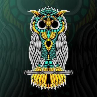 Ilustração de coruja com ornamento zentangle