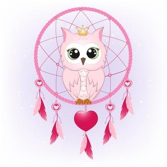 Ilustração de coruja fofa e apanhador de sonhos