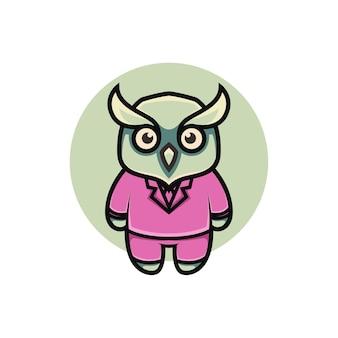 Ilustração de coruja fofa estilo desenho animado