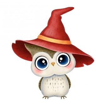 Ilustração de coruja marrom bonito dos desenhos animados, usando chapéu de bruxa vermelha