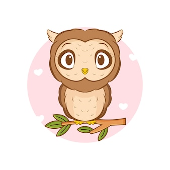 Ilustração de coruja pequena fofa