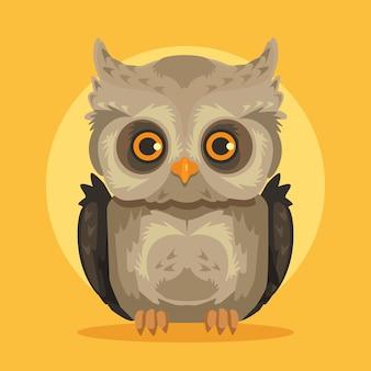 Ilustração de coruja plana dos desenhos animados