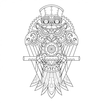 Ilustração de coruja steampunk em estilo linear