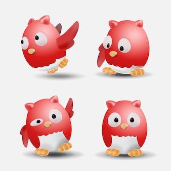Ilustração de coruja vermelha bonita