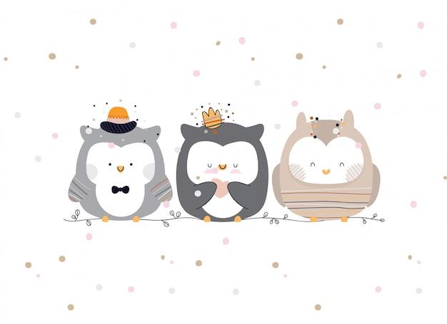 Ilustração de corujas bonitinha