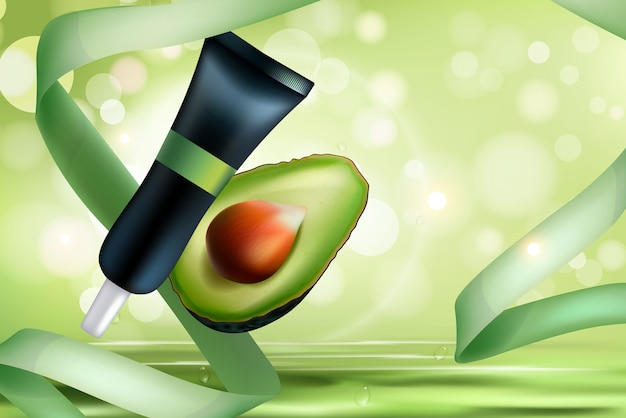 Ilustração de cosméticos de abacate.