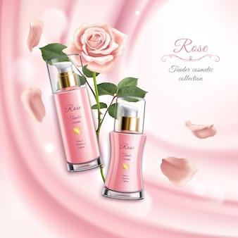Ilustração de cosméticos rosa realistas com dois tubos de creme de flores desabrochando e pétalas