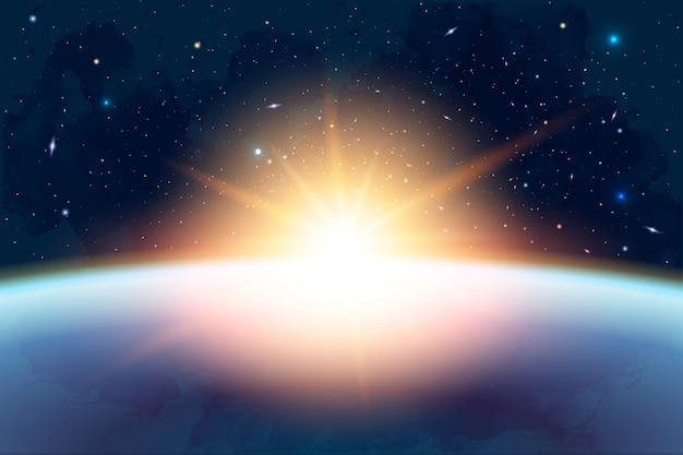 Ilustração de cosmologia com universo, galáxia, sol, planetas e estrelas.