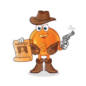 Ilustração de cowboy de moeda de dólar segurando arma